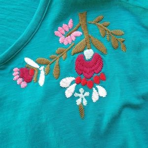 a.n.a Tops - ANA Teal Floral Blouse Embroidered Pink Top XL